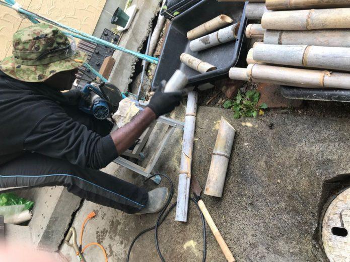 竹切り 農業資材作り